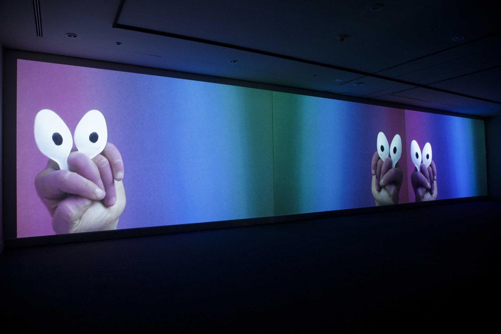 Otto, 2016-2018, three channel videoinstallation in loop, installation view at AuditoriumArte – Auditorium Parco della Musica, Rome