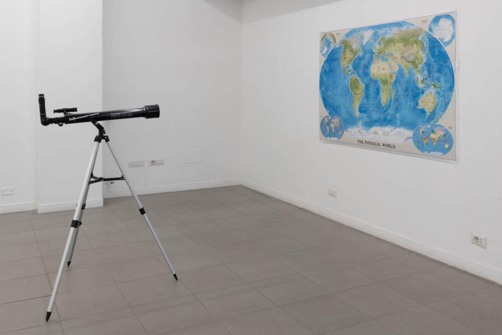Il cielo stellato e la legge morale, 2019, world physical map, telescope, ph. Giorgio Benni
