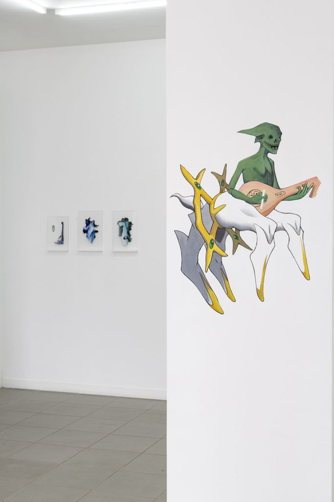 """Danse macabre """"Dance of death"""", 2019, wall painting, 68x54 cm, Petrichor, installation view at The Gallery Apart Rome (ground floor), 2019, ph. Giorgio Benni"""