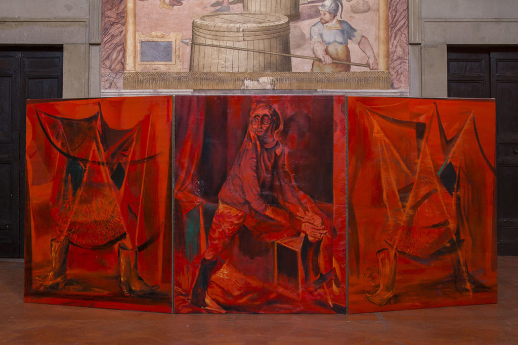 Opera rubra, 2019, oil on canvas, 3 elements cm 179,8 x 141 each, installation view Sala delle gesta, Palazzo della Corgna, Castiglione del Lago
