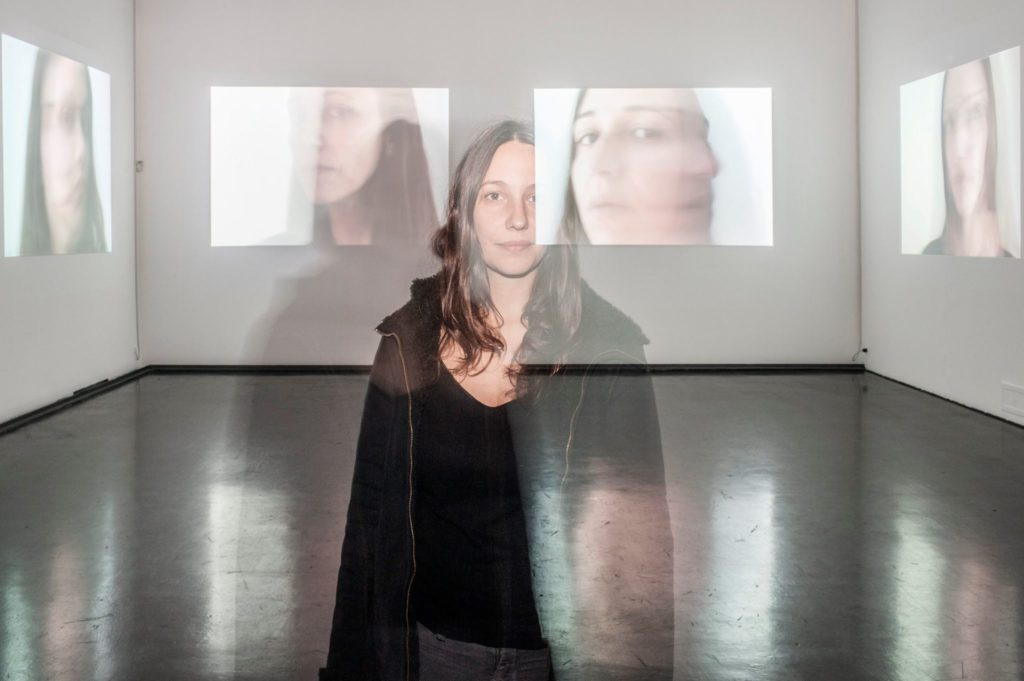 Allo specchio, 2015, installation video, loop, 00:01:26, installation view at MACRO Rome, (portrait of the artist)