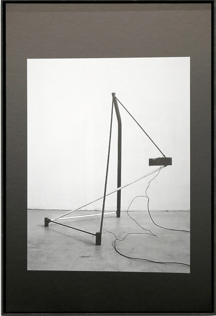 Live Wires #1, 2017, black and white photo on dibond, framed without  glass, (cm 60 x 40), chair (cm 80 x 40 x 50)