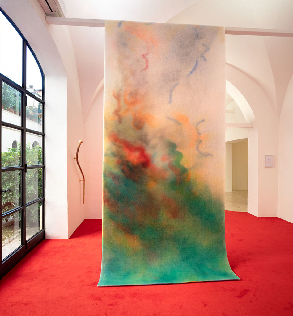 Aria Calda, 2020, oil and spray paint on polyester filter, 180 x 800 cm, installation view at Fondazione Memmo, ph. Daniele Molajoli