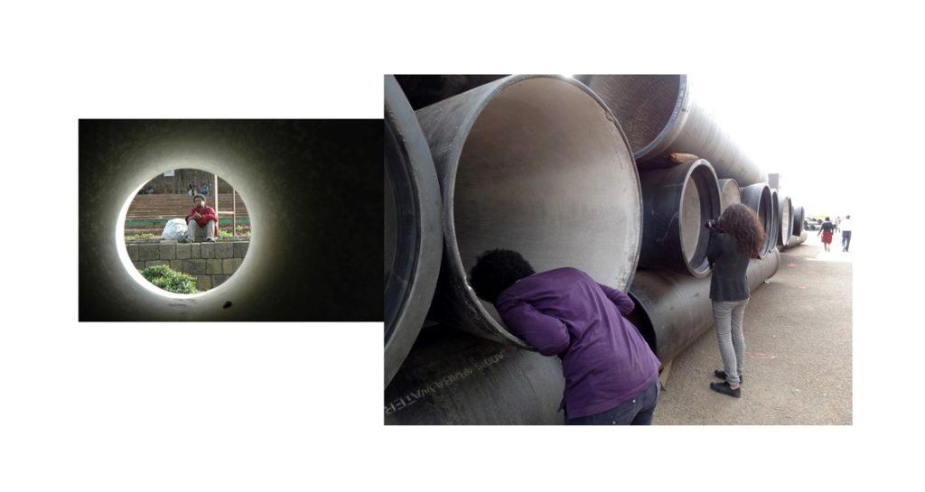 Sharing Gazes_Meskel Square #1, photo-collage on Dibond, cm 53,25 x 100