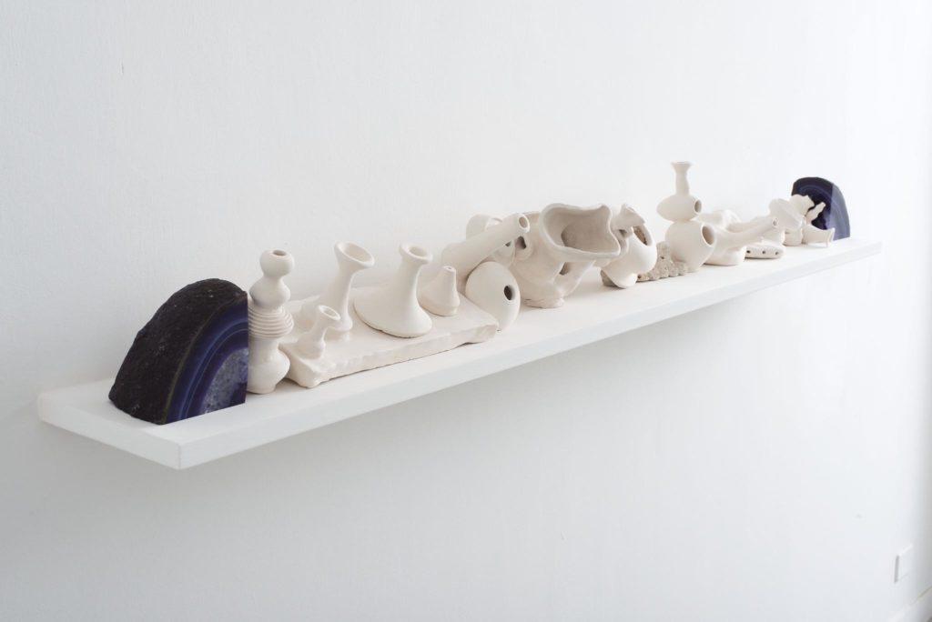 Unglazed Shelf, 2014, agate, ceramics, cm 20 x 180 x 20, ph. Giorgio Benni