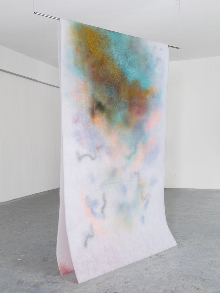 Aria Calda, 2019, oil and spray paint on polyester filter, cm 500x250
