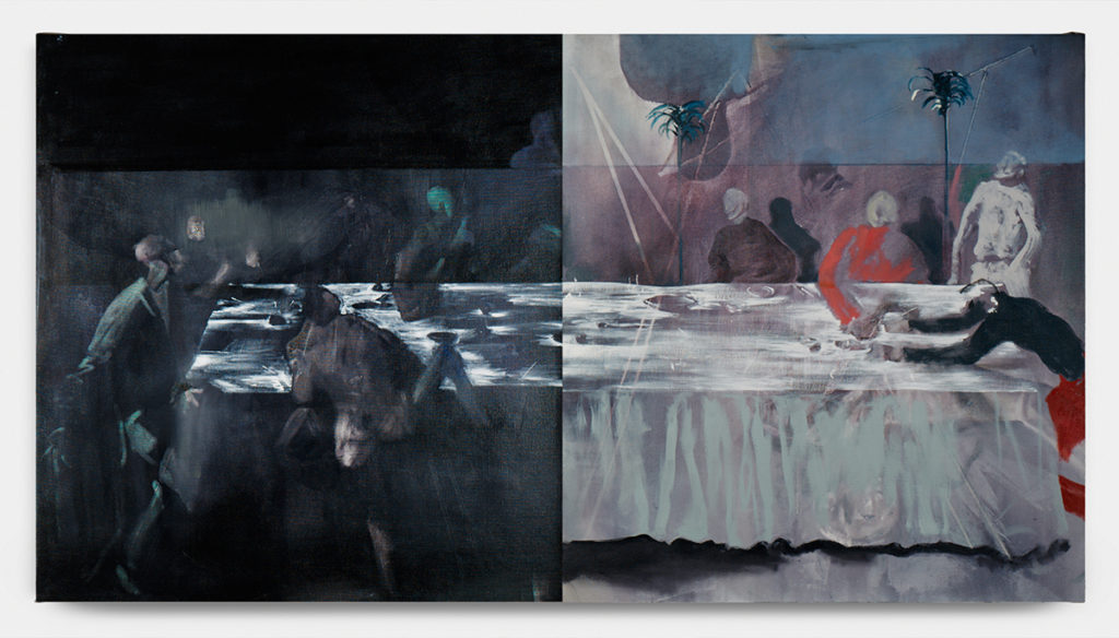 Banquit, diptych, 2018, oil on canvas, cm. 121 x 210