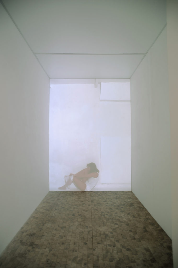 SCALDAMI PROTEGGIMI, 2005, video 00:05:45, installation view at Museo del Sannio Benevento, 2006