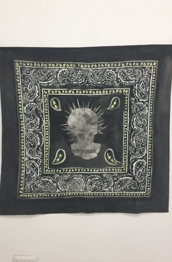 Bandana painting (Black), 2018, acrylic on cotton, 100 X 100 cm.