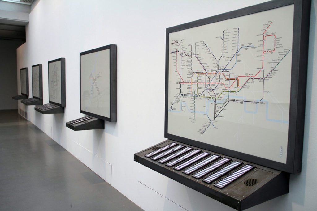 Notes englouties, 2012,  electronic circuit, computers, pushbuttons, metal, color prints, interactive map, subways of Paris, Rome, Madrid, Berlin and Londres, 130 x 115 x 44 cm each