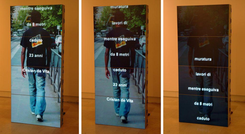 Ai caduti di oggi, 2004-2008, video-installation, cm 209,2x92,6x100