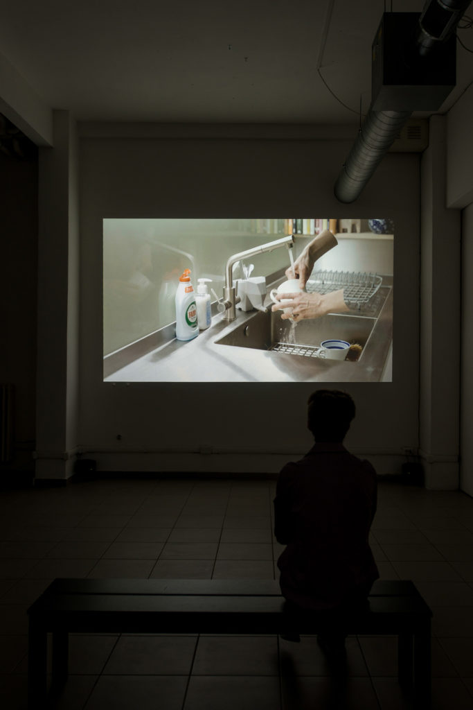"A room within which the computer can control the existence of matter, 2017, HD video, stereo sound, 10'21"", Ed. 5 + 1AP, installation view at The Gallery Apart Rome, ph. Giorgio Benni"