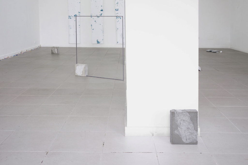 Searching for a sense of balance, 2015, a work in three parts, welde steel, lacquer, concrete, chewing gum, bronze augers, cm 28,4x21x6 (part 1), 94 x 113,5 x 9 (part 2), 20x21x9,2 (part 3), ph. Giorgio Benni