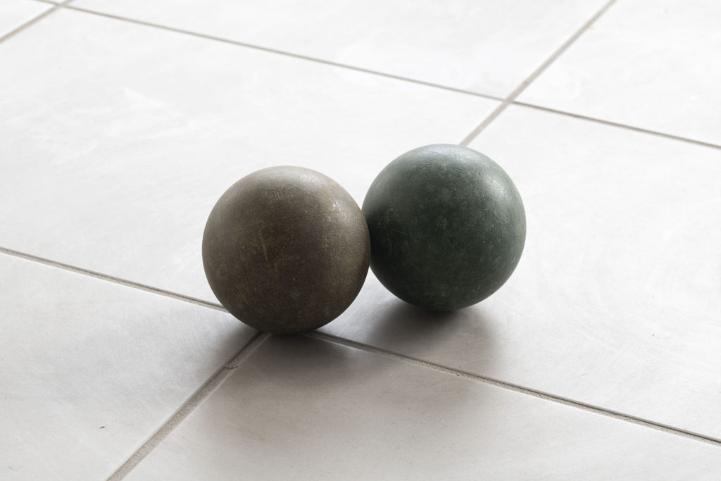 Untitled (this world, other worlds), 2017, 2 synthetic bowls, Ø10 cm each. Photo: Giorgio Benni