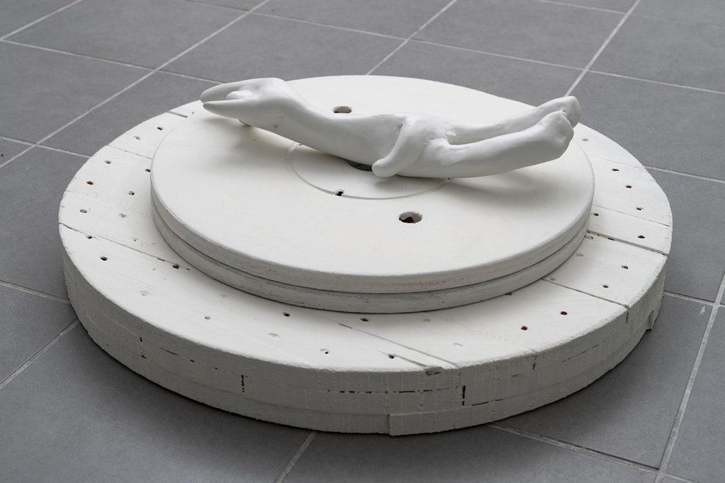Untitled (bodies, bomber, bones), 2017, burned driftwoods, rabbit glue, filler, plaster, polyester, lacquer on wooden platform, 34x44x60 cm (sculpture). Photo: Giorgio Benni