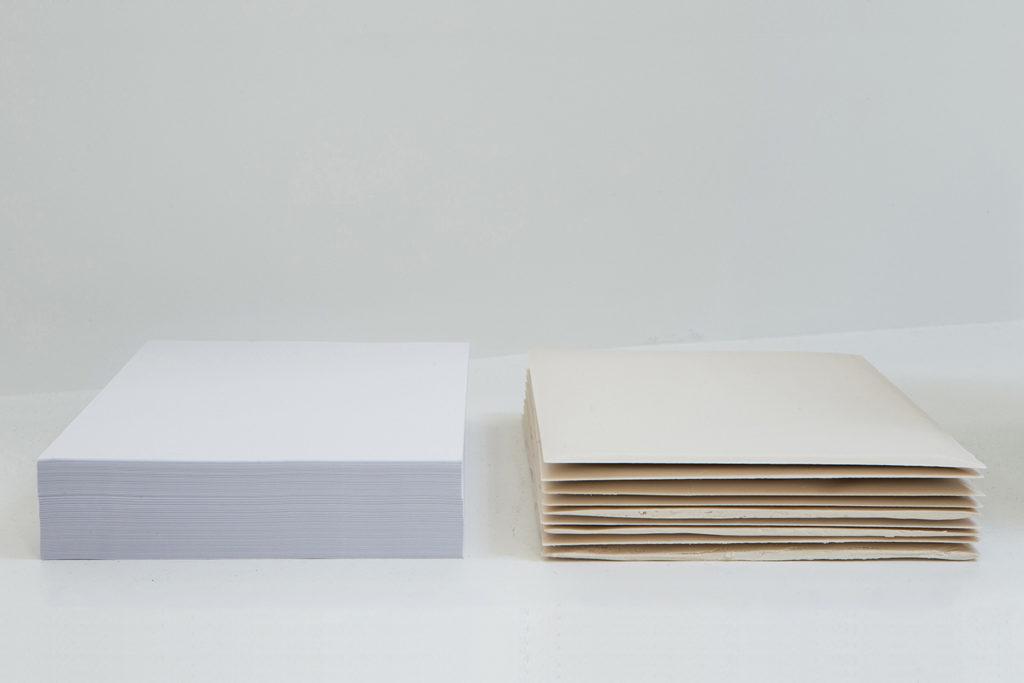 Untitled (Ream, Ream), 2016, jesmonite sheets, A4 paper ream, 47x31x5,5 cm. Photo: Gianluca Moscoloni