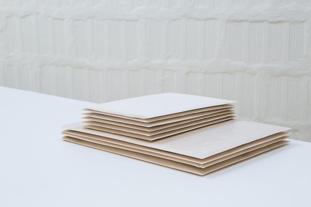 Untitled (Stack 4/6), 2016, jesmonite sheets, 30x22x7 cm. Photo: Gianluca Moscoloni