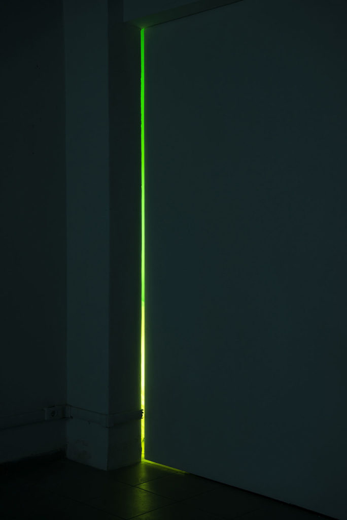 Untitled(Coming back to Rome), 2015, 3 fluorescent tube lights, 3 coloured sleeves, size variable. Photo: Giorgio Benni