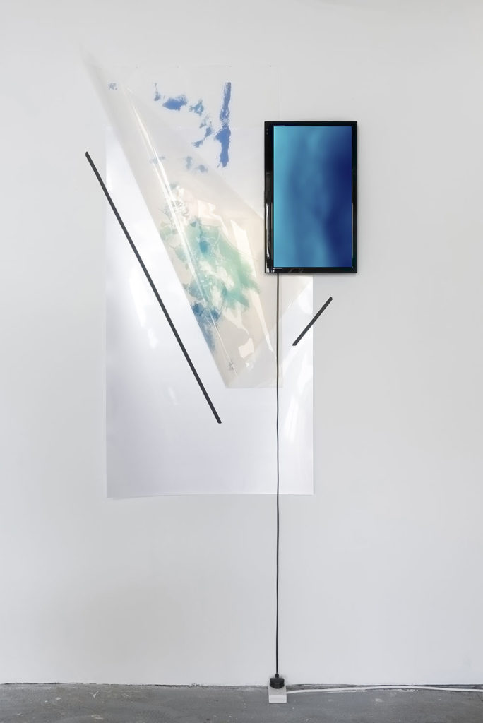 Untitled(Atmosphere/Chemistry/Ozone/Yearly concentration + Ocean/Chemistry/Dissolved Oxygen/5000 meters/Seasonal percentage), 2015, inkjet print on acetate, jpg projected on 22'' screen, cable, nails, tape, size variable. Photo: Damian Griffiths
