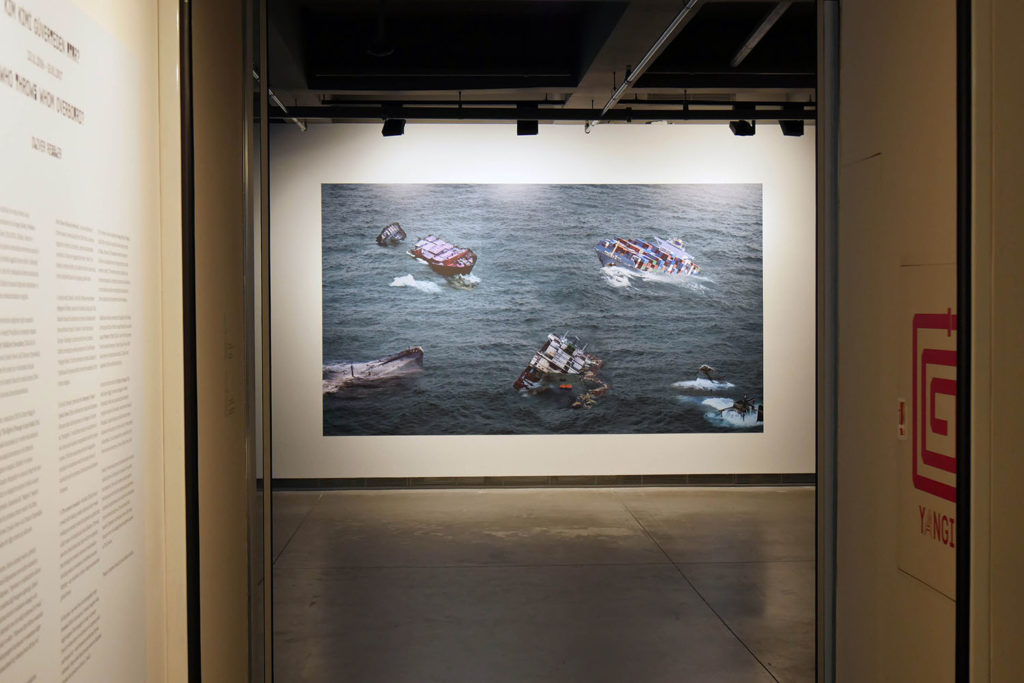 "Oliver Ressler, ""The economy is wounded: let it die!"", digital print, 2016 (Installation view: ""Who Throws Whom Overboard?"", SALT Galata, Istanbul, 2016; photo: O. Ressler)"